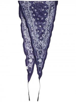 Узкий платок с узором Acne Studios. Цвет: синий