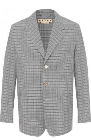 Хлопковый пиджак на трех пуговицах Marni. Цвет: серый