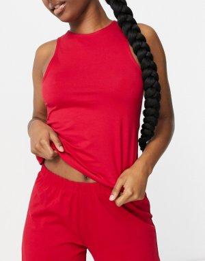 Красная комбинируемая трикотажная майка от пижамы с вырезом «борцовка» -Красный ASOS DESIGN