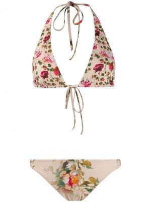 Двустороннее бикини с цветочным принтом и вырезом халтер Alberta Ferretti. Цвет: нейтральные цвета