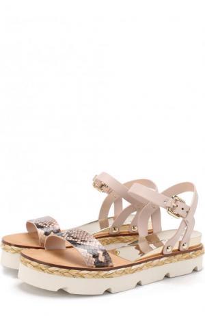 Кожаные сандалии с джутовым рантом Casadei. Цвет: светло-розовый