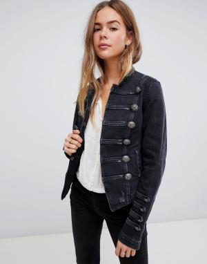 Облегающая джинсовая куртка в стиле милитари Free People. Цвет: черный