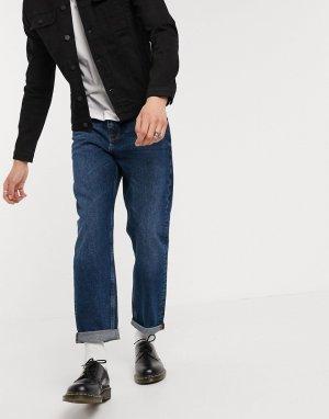 Темно-синие прямые джинсы до щиколотки -Синий ASOS DESIGN