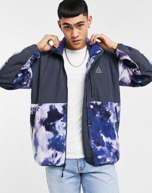 Фиолетовая флисовая куртка со сплошным принтом Polarys-Фиолетовый цвет HUF