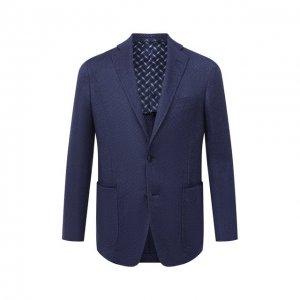 Пиджак из кашемира и шелка Zilli. Цвет: синий