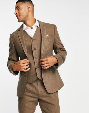 Бежевый приталенный пиджак с добавлением шерсти и узором в елочку wedding-Светло-бежевый цвет ASOS DESIGN