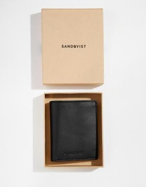 Вертикальный кожаный кошелек Dow Sandqvist. Цвет: черный