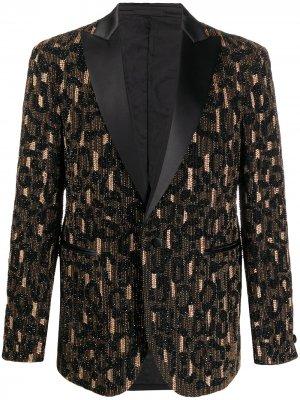 Пиджак с бисером Versace. Цвет: черный