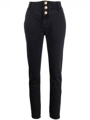 Crystal-button high rise jeans Alessandra Rich. Цвет: черный