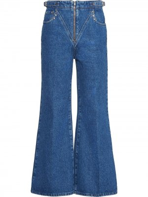 Расклешенные укороченные джинсы Miu. Цвет: синий