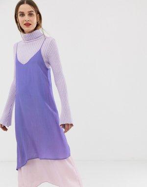 Двухслойное платье-комбинация 2NDDAY 2nd Day. Цвет: фиолетовый