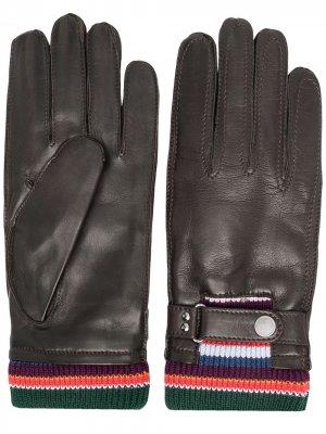 Перчатки со вставками PAUL SMITH. Цвет: коричневый