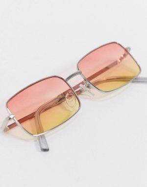 Квадратные солнцезащитные очки с серебристой оправой -Серебряный ASOS DESIGN