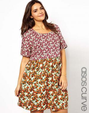 Платье большого размера с принтом и присборенной юбкой ASOS CURVE. Цвет: мульти