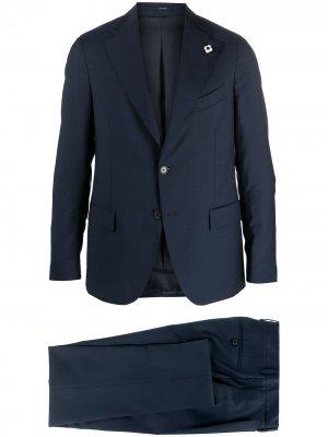 Костюм с однобортным пиджаком Lardini. Цвет: синий