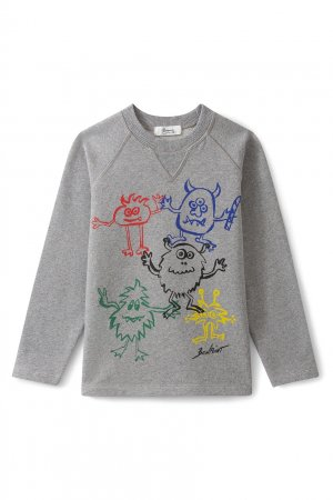Хлопковый серый свитшот с принтом Bonpoint. Цвет: серый