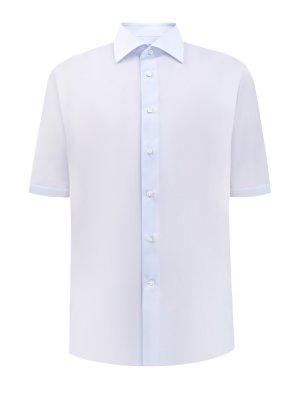 Рубашка из гладкого хлопка Impeccabile с короткими рукавами CANALI. Цвет: голубой
