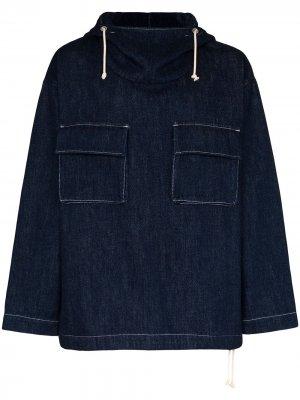 Джинсовая куртка Pad Shiba с капюшоном Loreak Mendian. Цвет: синий