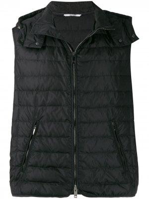 Дутый жилет с логотипом Valentino. Цвет: черный