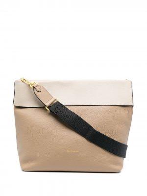 Двухцветная сумка на плечо Coccinelle. Цвет: нейтральные цвета