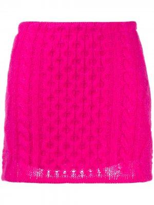 Мини-юбка фактурной вязки Laneus. Цвет: розовый