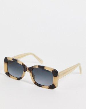 Круглые солнцезащитные очки в стиле унисекс оправе кремового цвета с черепаховым дизайном Salo-Белый A.Kjaerbede