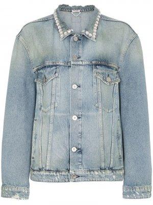 Декорированная джинсовая куртка Miu. Цвет: синий
