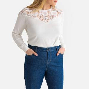 Пуловер с круглым вырезом из тонкого трикотажа 64% хлопка CASTALUNA. Цвет: белый