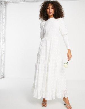 Свадебное платье цвета слоновой кости с кружевом, объемными рукавами и открытой спиной в стиле 80-х Sister Jane Bridal-Белый
