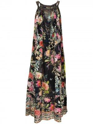 Платье без рукавов с цветочным принтом Camilla. Цвет: черный