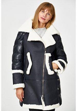 Утепленная кожаная куртка с отделкой овчиной La Reine Blanche