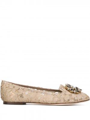 Декорированные слиперы Vally Dolce & Gabbana. Цвет: нейтральные цвета