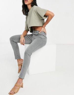 Серые выбеленные зауженные джинсы до щиколотки с очень завышенной талией Leenah-Серый J Brand