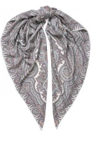 Платок из смеси кашемира и шелка с принтом Michele Binda. Цвет: светло-серый