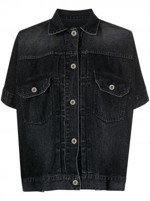 Джинсовая куртка с короткими рукавами Sacai. Цвет: черный