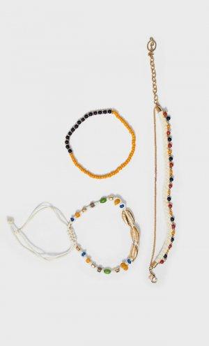 Набор Из 4 Браслетов С Бисером Женская Коллекция Цвет Небеленого Полотна 103 Stradivarius. Цвет: цвет небеленого полотна