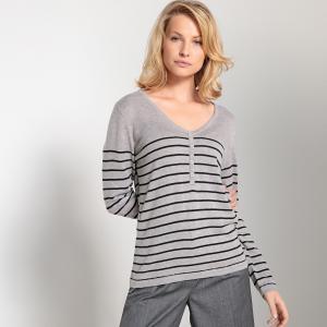 Пуловер в полоску морском стиле с V-образным вырезом ANNE WEYBURN. Цвет: в полоску серый меланж,в полоску черный