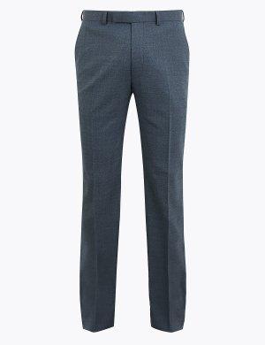 Синие классические брюки M&S Collection. Цвет: синий