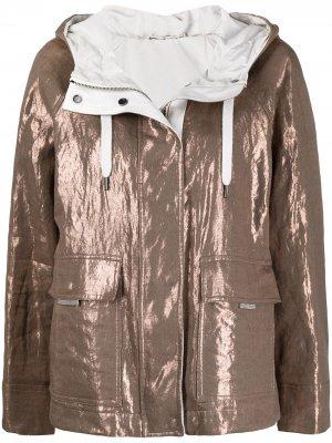 Куртка с эффектом металлик и капюшоном Brunello Cucinelli. Цвет: коричневый