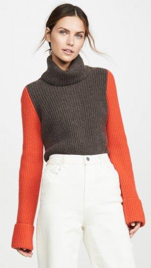 Cuffed Colorblock Cashmere Pullover Autumn