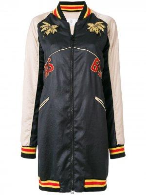 Пальто колор-блок на молнии As65. Цвет: черный