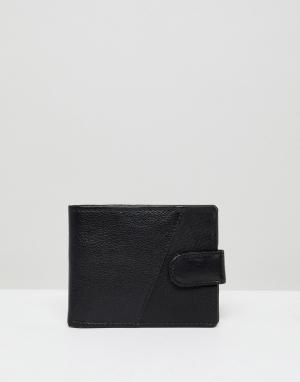 Черный кожаный кошелек New Look. Цвет: черный