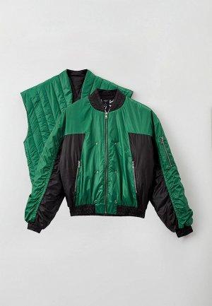 Куртка и жилет Sayonara Boy. Цвет: зеленый