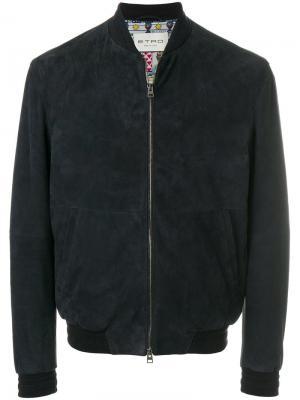 Классическая куртка-бомбер Etro. Цвет: синий