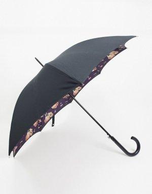 Зонт с цветочным принтом -Черный Fulton