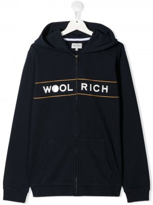 Худи на молнии с логотипом Woolrich Kids. Цвет: синий