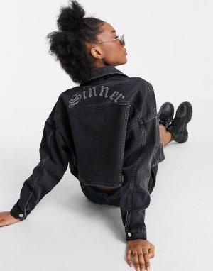 Черная выбеленная джинсовая куртка -Черный Topshop