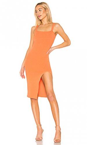 Платье с квадратной горловиной zoe superdown. Цвет: оранжевый