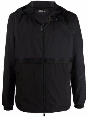 Легкая куртка с капюшоном Z Zegna. Цвет: черный