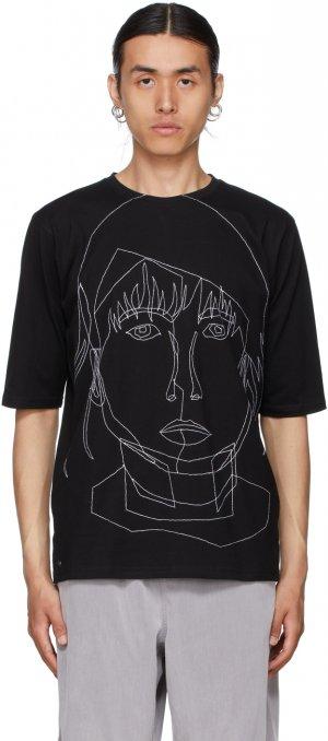 Black Stitched Starcut II T-Shirt Bless. Цвет: black/white